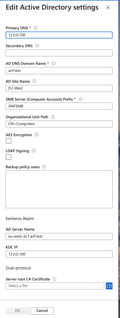 Screenshot of the Azure blade displaying the AD settings for Azure NetApp Files account.